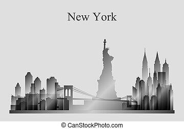 New York city skyline silhouette in grayscale