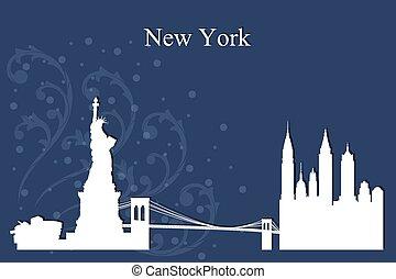 New York city skyline silhouette on blue background
