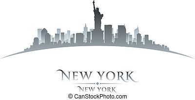 New York city skyline silhouette white background