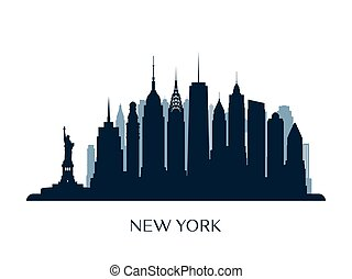 New York skyline, monochrome silhouette.