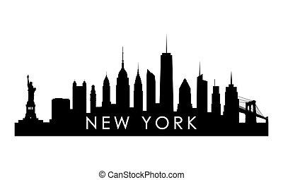 New York skyline silhouette.