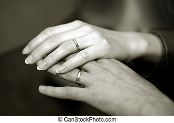Newlyweds hands