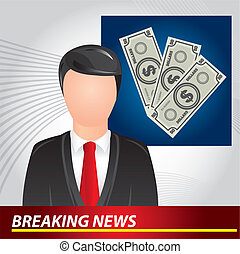newscaster with bills, breaking news. vector illustration