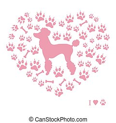 Nice picture of poodle silhouette on a background of dog tracks and bones in the form of heart on a white background.