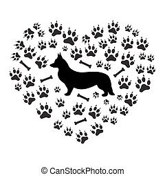 Nice picture of Welsh Corgi Pembroke silhouette on a background of dog tracks and bones in the form of heart on a white background.