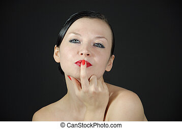 nice portrait of a girl on a black background