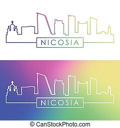 Nicosia skyline. Colorful linear style.