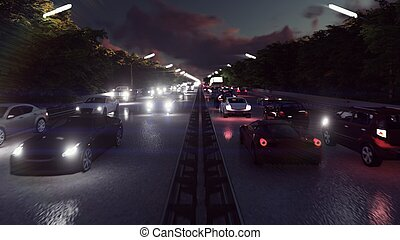 Night cars lights and heavy traffic. Cars with headlights on go to the city at night. 3D Rendering