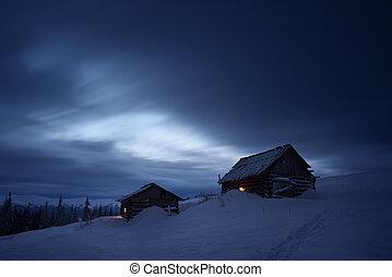 Night landscape in mountain village