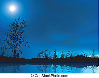 Night Sky - colored background illustration, vector