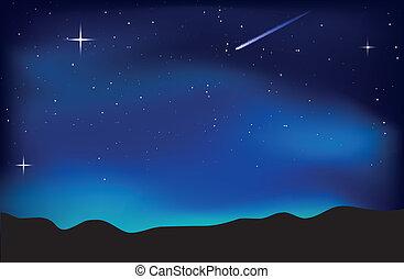 Vector illustration of night sky landscape