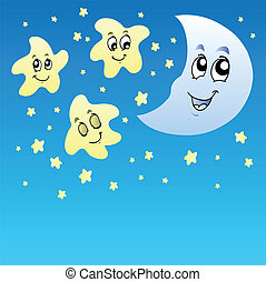 Night sky with cute stars and Moon - vector illustration.