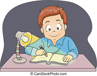 Illustration of a Little Boy Using a Lamp to Study at Night