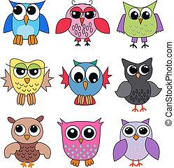 nine different owls