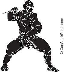 Ninja fighter - vector EPS illustration. All vinyl-ready.