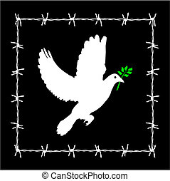 Dove of peace framed in a barbed wire. Vector available.