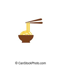 Noodle in a bowl logo template