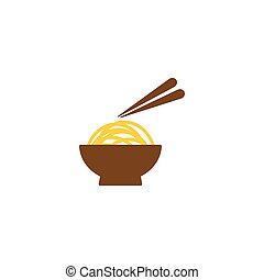 Noodle on a bowl logo and icon template