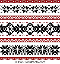 Nordic pattern with snowflakes, black and red silhoeuttes isolated on white background.