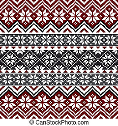 Nordic traditional pattern with snowflakes, white, grey and red design, full scalable vector graphic, all elements are grouped for easy editing