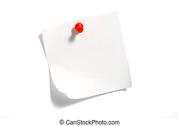 Note Paper close up on isolated white background