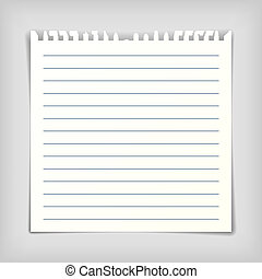 Square note paper sheet with lines, realistic vector illustration