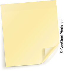 Vector Yellow sticky sheet for notes on white