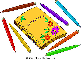 Notebook with flower pattern on cover and felt-tip pens