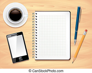 Notepad, pens, smartphone and coffee cup on office desk top view background