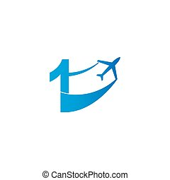 Number 1 with plane logo icon design vector illustration