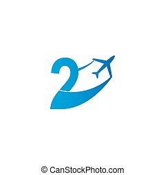 Number 2 with plane logo icon design vector illustration