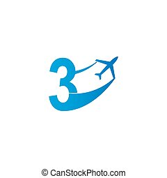 Number 3 with plane logo icon design vector illustration