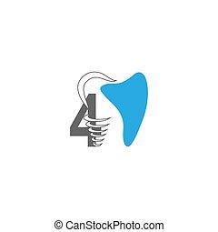 Number 4 logo icon with dental design illustration