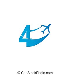 Number 4 with plane logo icon design vector illustration