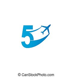 Number 5 with plane logo icon design vector illustration