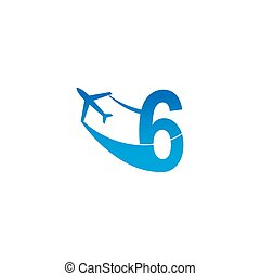 Number 6 with plane logo icon design vector illustration