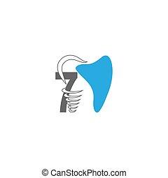 Number 7 logo icon with dental design illustration