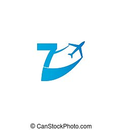 Number 7 with plane logo icon design vector illustration