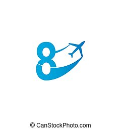 Number 8 with plane logo icon design vector illustration
