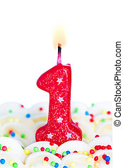 Red number one birthday candle