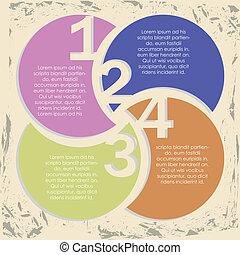 numbers infographics over vintage background vector illustration