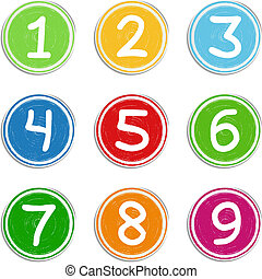 Set of hand drawn numbers, vector eps10 illustration
