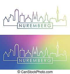 Nuremberg skyline. Colorful linear style.