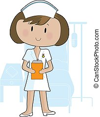 A young female nurse holding a clipboard