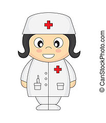 nurse. cartoon with a white background isolated