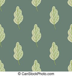 Oak leaf pale seamless pattern in simple hand drawn style. Green foliage on grey background.