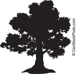 Oak tree with leaves and grass, black silhouette on white background. Vector