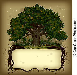 vector old-fashioned banner with fairy-tale rooted oak tree