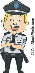 Illustration of a Man Wearing a Security Guard Uniform Smiling Happily