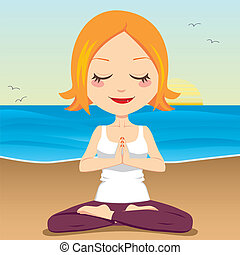 Cute red hair woman meditating and exercising yoga lotus position on the beach